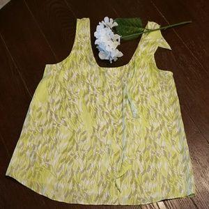 BCBGenerations sleeveless blouse green print